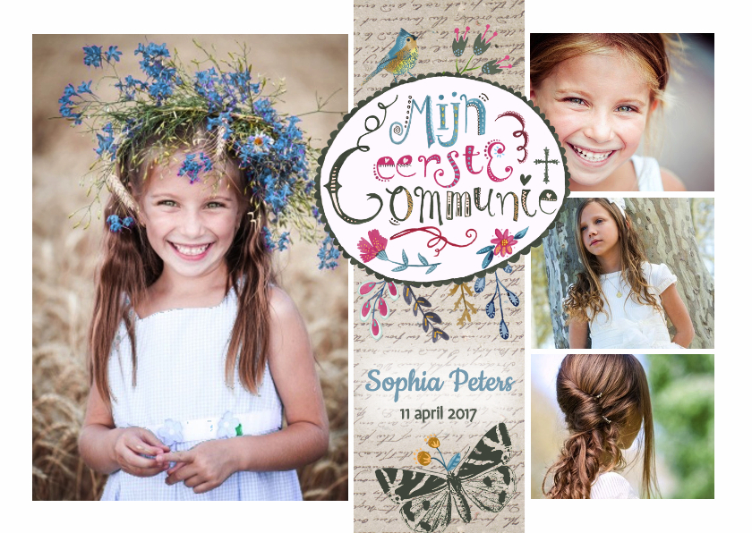 communie uitnodiging met meerdere foto's